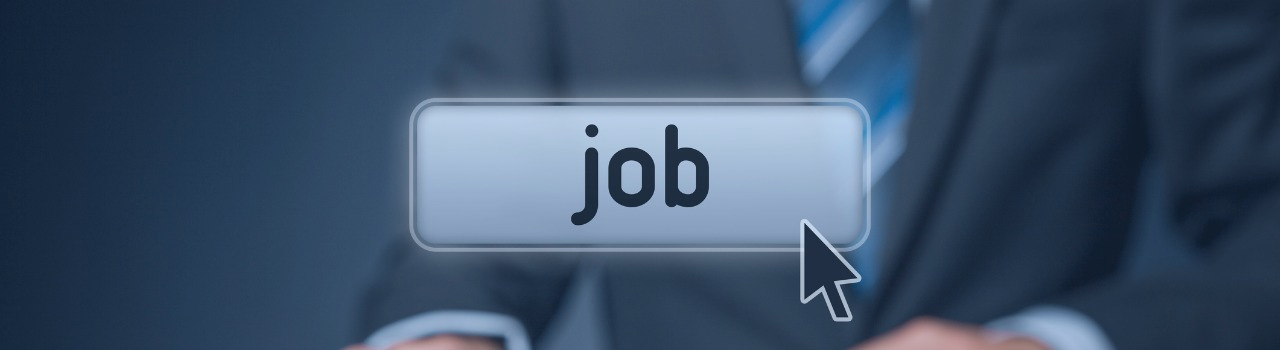picture of a web button with the word job on it, superimposed over a blurry image of a man in a blue suit and coat